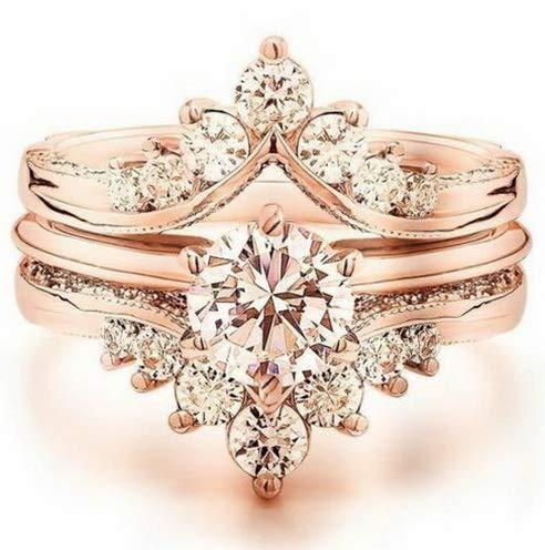 (Rhame Lady Chic 18K Rose Gold Fil Round Cut White Topaz Ring Wedding Jewelry Sz6-10   Model RNG - 21425   6 )