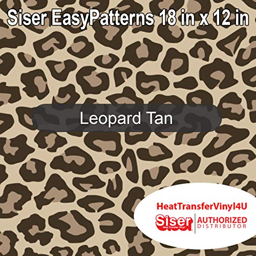Siser EasyPatterns Iron On Heat Transfer Vinyl 18 Inches by 12 Inches (Leopard Tan)