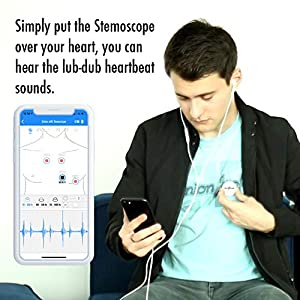 Stemoscope Smart Wireless Listening Device – Fitness Tracker for monitoring heartbeat and heart sound (white)