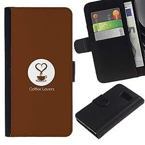 Planetar® Modelo colorido cuero carpeta tirón caso cubierta piel Holster Funda protección Para Samsung Galaxy S6 / SM-G920 ( Coffee Lovers Minimalist Heart )