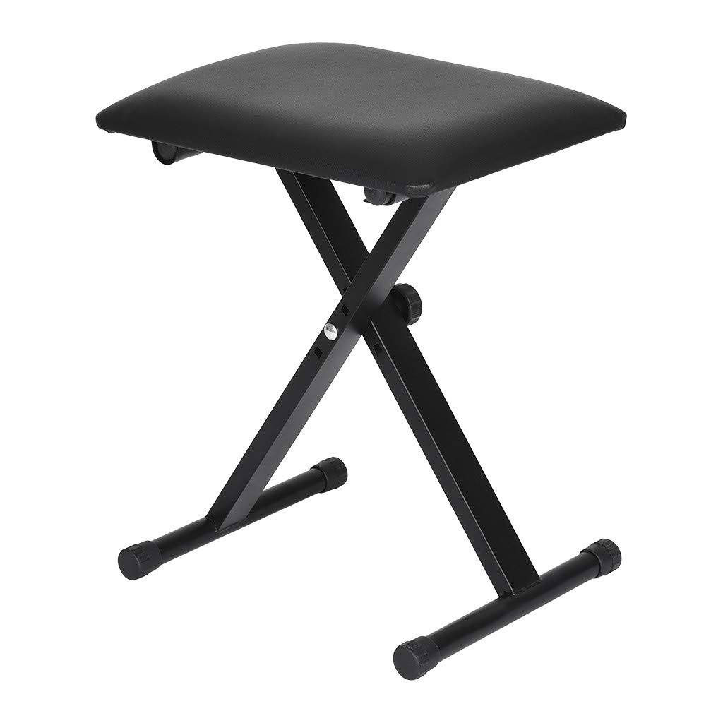 Homefami Piano Bench Keyboard Bench Foldable Adjustable Padded Keyboard X-Style Stool Chair Black by Homefami