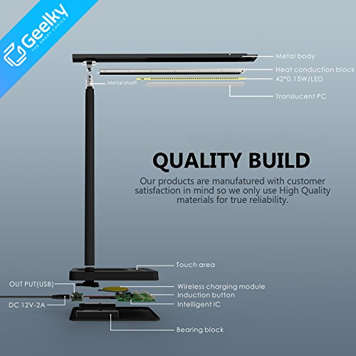 LED Desk Lamp with Qi Wireless Charger, Eye-caring Table Lamps, Dimmable Lamp with 5V/1A USB Charging Port, Office Desk Lamp, Touch, 4 Color Temperature Modes by Geelky (Jet Black) by Geelky (Image #9)
