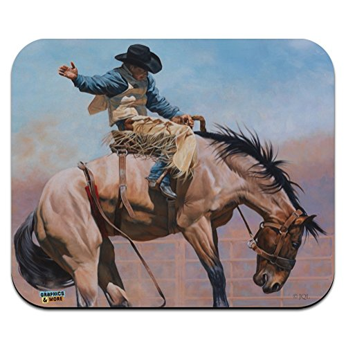 Saddle Bronc Horse Cowboy Riding Rodeo Event Low Profile Thin Mouse Pad Mousepad (Rodeo Slim)