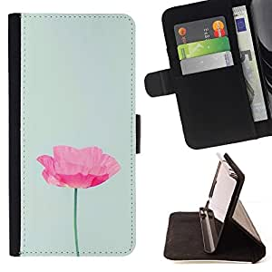 """Flor minimalista Rosa Verde Luz"""" Colorida Impresión Funda Cuero Monedero Caja Bolsa Cubierta Caja Piel Id Credit Card Slots Para HTC One M7"""