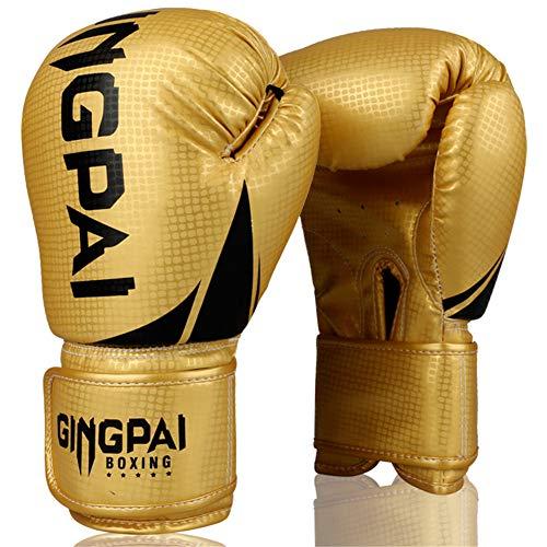XJST Boxing Gloves 6Oz 8Oz 10Oz 12Oz for Training Punching Sparring Bag Punch Mitts Muay Thai Kickboxing MMA Martial Arts Workout Gloves Men,Gold,6oz