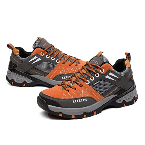BERTERI Friction Fashion Lightweight Shoes Orange Sneakers Men's Hiking High Casual Mesh Breathable Grey FqwFrWZC