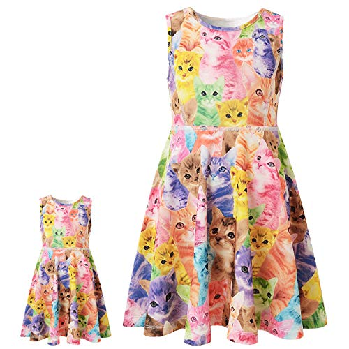Sleeveless Cat Dresses for Toddler Girls Casual Summer Sun Dresses 7 16 -
