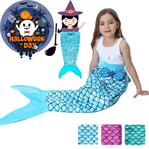 Mermaid Tail Blanket for Girls Kids Toddlers Teens,All Seasons Soft Flannel Fleece Wearable Mermaid Blanket Children Sleeping Bag for Bed Sofa 2019 Halloween