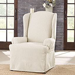 Sure Fit Ticking Stripe  - Wing Chair Slipcover  - Dove Gray (SF43454)