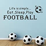 SMILEQ Lovely Quotes Wall Stickers Football Removable Decal Art Vinyl Mural Home Room Decor (A)