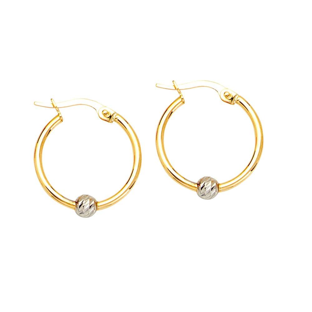 10Kt Gold Tt Round Hoop Ear W//Diamond Cut Bead Element Hoop Earrings