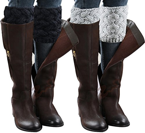Loritta 2 Pairs Womens Boot Cuffs Winter Short Cable Knit Leg Warmers Boot Socks Gifts,2pairs- Style 02