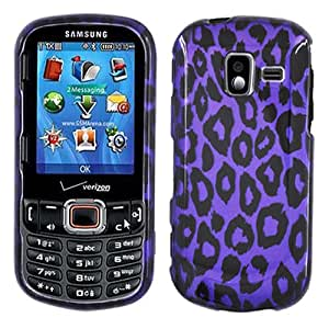 Purple Leopard Black Cheetah Hard Case Cover For Samsung Intensity 3 U485 with Free Pouch
