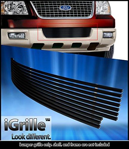 Black Stainless Steel eGrille Billet Grille Grill For 2003-2006 Ford Expedition Bumper Insert (Ford Expedition Grille Insert)