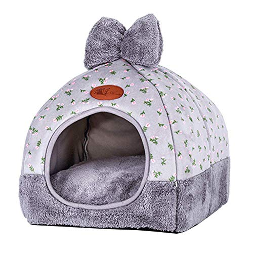 - laamei Cat Tent, 2-in-1 Pet Bed House Self- Warming Cat Kitten Puppy Cave Basket with Removable Cushion Cover Two Way Conversion Triangle Cat Bed House Large Grey 1515 inches