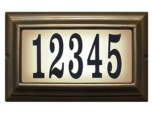 Qualarc LTL-1301-LED-FB-PN Edgewood Rust Free Cast Aluminum Rectangular Lighted Address Plaque with LED & 4'' Black Polymer Numbers, French Bronze