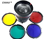 EXMAX NG-10X LED Studio Focusing Lens 10X Studio Light Focus Mount Lens Adjust for Flash & LED Light With 4 Color Filters