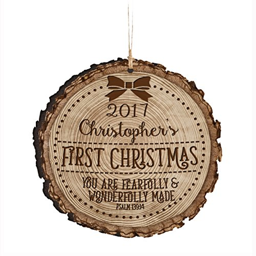 (Personalized Baby's First Christmas Ornament New Parent gift ideas for newborn boys and girls Custom engraved ornament for mom dad and grandparents 3.75