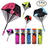 TSLIKANDO 5PCS Parachute Toy Tangle Free Throwing Parachute Toss It Up and Watch Landing Outdoor Children's Flying Toys