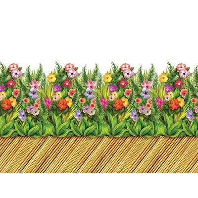 Tropical Flower & Bamboo Walkway Border Party Accessory (1 count) (1/Pkg) (Halloween Group Themes)