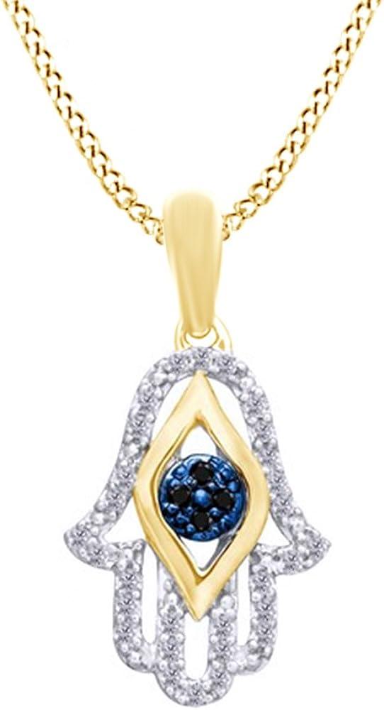 2.80 Ct Round Cut Diamond 14k Yellow Gold Finish Hamsa Pendant Necklace