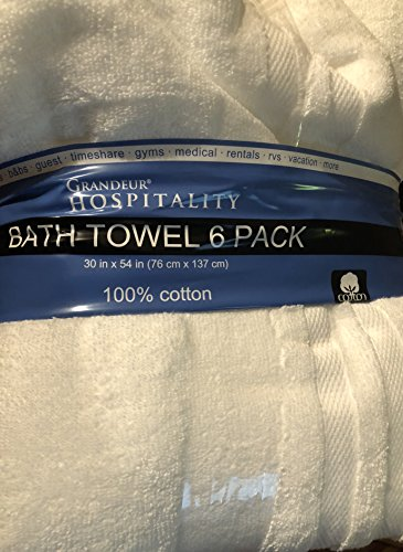 "Grandeur Hospitality Bath Towel 6 Pack 30"" x 54"" 100% Cotton 6 Pack from Grandeur Hospitality"