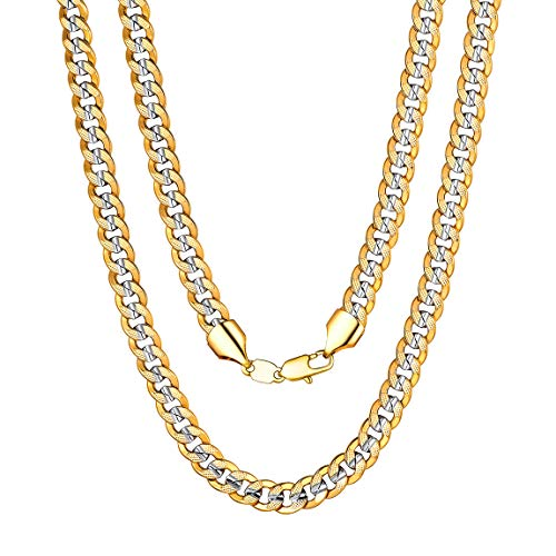 (Boys Necklace Chain Neck Men 18 inch Chain Two Tone Gold Platinum Plated Necklace)