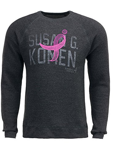 Susan G. Komen Men's Gray with Pink Ribbon Hooded Sweatshirt KOMEMS0008 Small