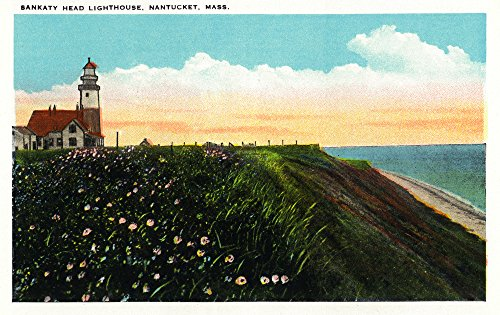 Nantucket, Massachusetts - View of Sankaty Head Lighthouse (12x18 SIGNED Print Master Art Print w/ Certificate of Authenticity - Wall Decor Travel Poster)