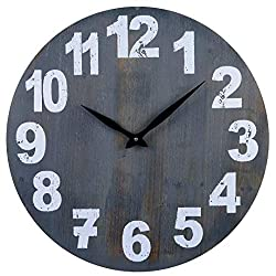 24-Inch Wood Silent Non-Ticking Gray Rustic Farmhouse Battery Operated Large Decorative Wall Clock with Arabic Numerals