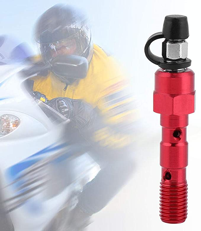 Cuque Motorcycle Rear Brake Master Cylinder Banjo Bolt Bleed M10 x 1.25mm Motorbike Thread Brake Caliper Screw Universal Aluminum Anodized with 3 Washers Red