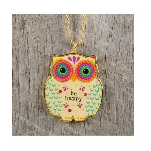 Natural Life Glitter and Gold Car Charms ''Owl Be Happy''