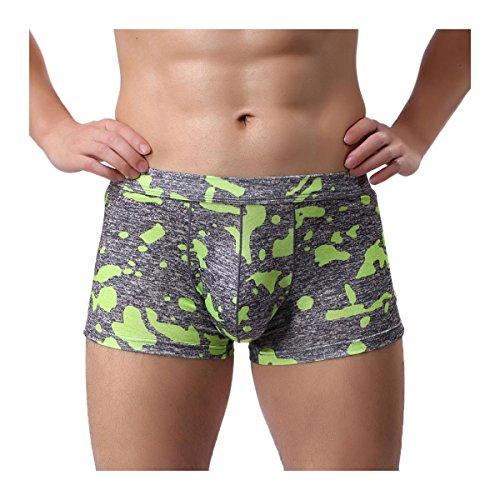 Hunzed Mens Underpants Camouflage Boxer Briefs Shorts Breathe Boxers Bulge Pouch Underpants Men Shorts Underwear (S, Green) ()