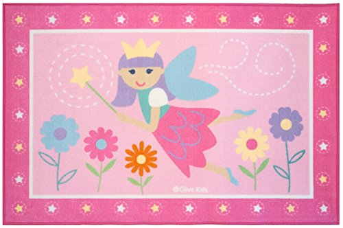 Play Rug, Wildkin Children's 39 x 58 Inch Rug, Durable, Vibrant Colors That Will Last, Perfect for Nurseries, Playrooms, and Classrooms, Ages 3+, Olive Kids Design - Fairy Princess