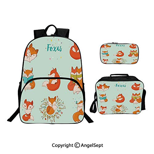 Hot Sale School Backpack For Girls 3 pcs per set,Lovely Fox Characters Sleeping Reading Romantic Couple Nature Collection Kids Comic Multicolor,With Lunch Box Pencil Bag Very Convinent (Best Tablet For Reading Comics)