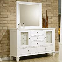 Sandy Beach White Dresser and Mirror Set - Coaster 201303Set