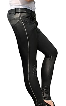 47f37b5813f33 Amazon.com: LinvMe Men's Sexy Faux Leather Side Zipper Tight Pants: Clothing