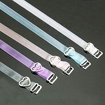 takestop® Juego de 6 Piezas Tirantes Tirantes Sujetador Transparente Invisible Silicona Brillante Ganchos Corazón Ajustable Accesorios Color AL Azar: ...