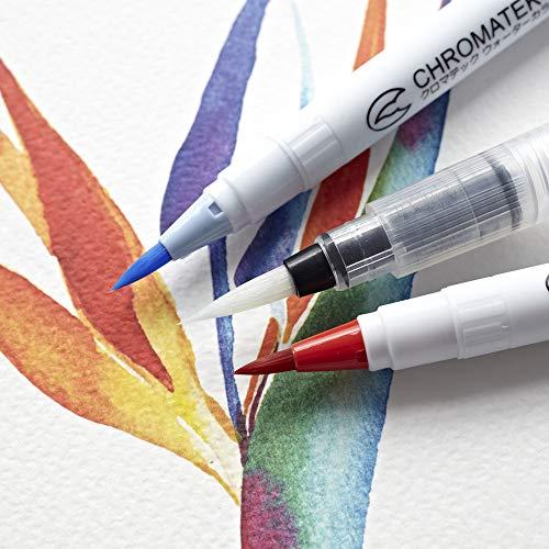 52 Watercolor Brush Pens, Tutorial Pad & Video Series by Chromatek. Real Brush Tip. Vivid. Smooth. Blendable. Long Lasting. Professional Artist Quality. 50 Colors 2 Blending Brushes. by Chromatek (Image #4)