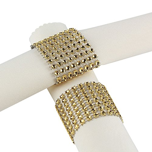 Aytai Rhinestone Mesh Bling Napkin Rings for Wedding Decoration, Plastic Chair Sash Bows,Napkin Holder for DIY Party Birthday Banquet Supply 5 x 1.6inch (50, Gold)