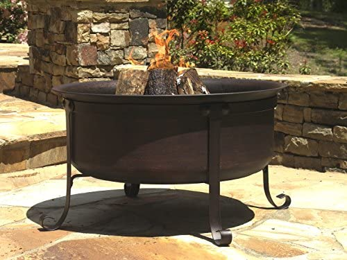 Catalina Creations AD544 34 Round Cauldron Wood Burning Patio Fire Pit, 34 x 34 x 12.5 , Bronze Finish