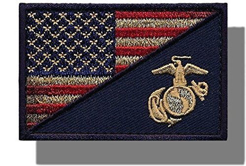"""3 x 2 /& Red Colors} Licensed Rectangle /""""Political/"""" USA Stars /& Stripes Marine Corp Military Morale Flag Embroidered Applique Patch {Blue Single Count Gold Custom and Unique"""