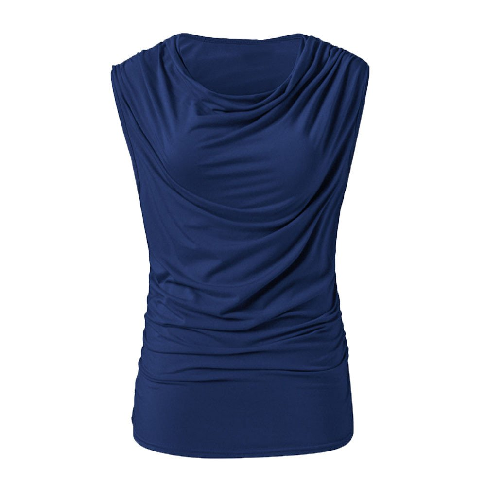 Tank Tops for Women BXzhiri Casual Fashion Sleeveless V-Neck Pleated Pure Color Casual Slim Tops Blouse T-Shirt Blue