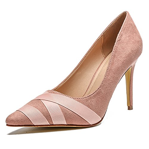 Robe Chaussures Pink Womens on Slip Pointu Cour Escarpins Shallow Hauts Talons Toe Extrême Chaussures zqrwqf5a