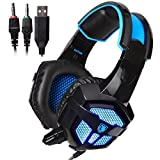 Sades SA738 Gaming Headset USB 3.5mm Jack Stereo Headphone with Microphone for PC Laptops Mobile Phone MP3 MP4(Blackblue)