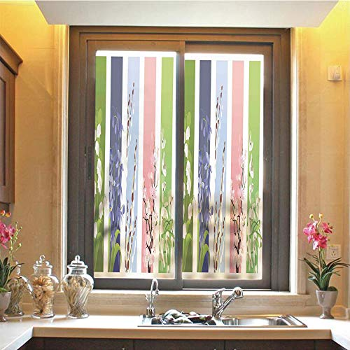 - Floral 3D No Glue Static Decorative Privacy Window Films, Spring Flowers on Different Backgrounds Lily Valley Primrose Floral Home Decor,17.7