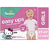 Pampers Easy Ups Pull On Disposable Training Diaper Girls, Size 5 (3T-4T), Super Pack, 66 Count