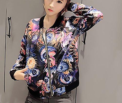 Cappotti Blu Cerniera Giovane Donna Casuale Autunno Giacca Giubbotto Coreana Slim Pattern Moda Stampato Collo Inverno Parka Giacche Fit Longsleeve Eleganti Corti WBqHTzwqR