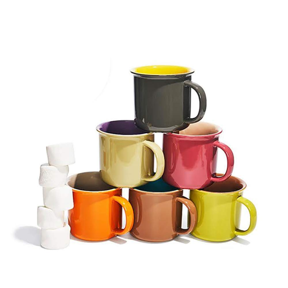 Yedi Houseware Set of 6 Jumbo 20 oz Porcelain Mugs, Coffee, Tea, Cocoa, Set of 6, Hot Assorted Colors