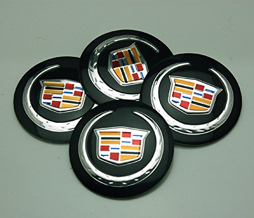 BENZEE 4pcs D036 56.5mm Car Emblem Badge Sticker Wheel Hub Caps Centre Cover Black Cadillac ATS CTS EXT
